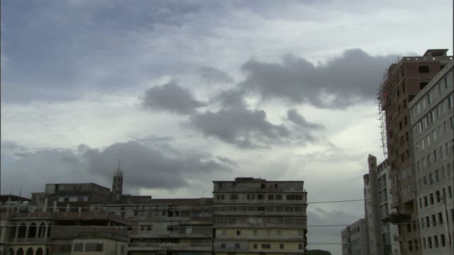Clouds scud over buildings in Dhaka Bangladesh. Available in HD.