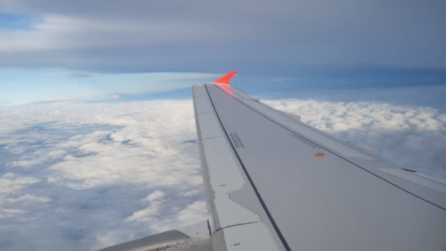 clouds seen through the window of  airplane - invertebrate stock videos & royalty-free footage