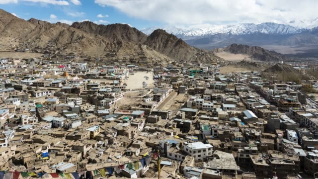 Clouds, Shadows and People activity Time-lapse of Leh city in Ladakh Region, India.