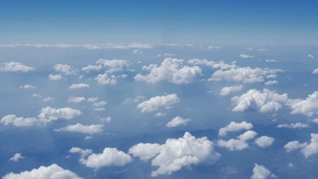 clouds with sky from airplane window,aerial view - airship stock videos & royalty-free footage
