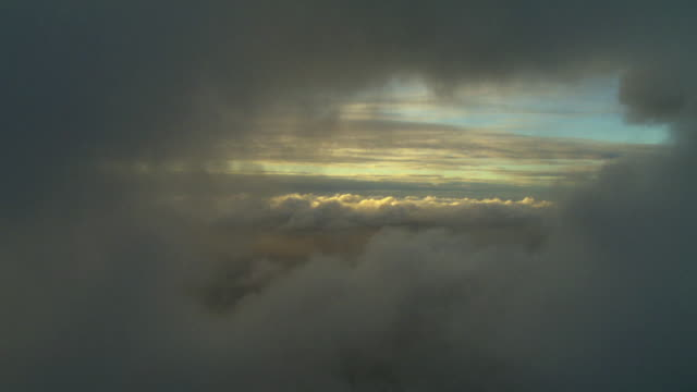 AERIAL Cloudscape at sunrise, Auckland, New Zealand