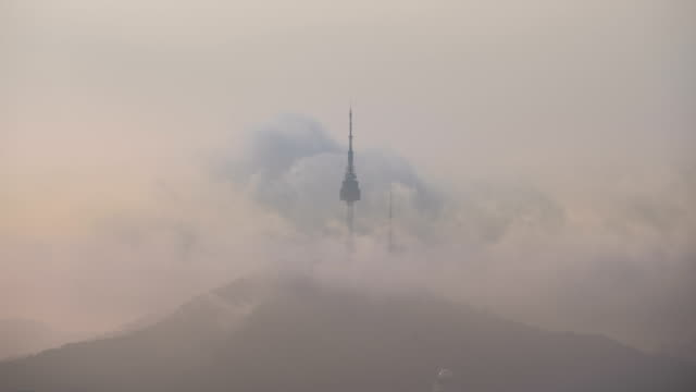 cloudscape of n seoul tower(famous tourist destination) in yongsan-gu, seoul - observation point stock videos & royalty-free footage