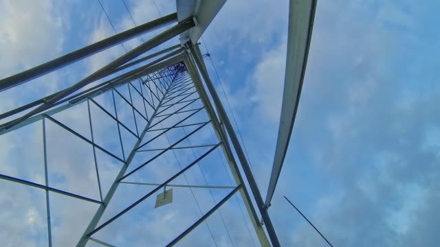 hd time-lapse: cloudscape over the power line - high voltage stock videos & royalty-free footage