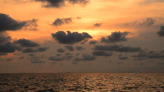 Cloudscape Over the Sea with Sunset Sky Backgrounds