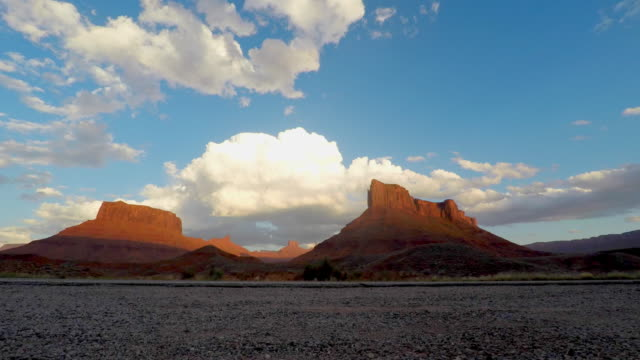 Cloudscape Timelapse Over Mesa Rock Tower Near Moab, Utah