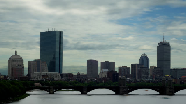 bewölkt boston timelapse - back bay stock-videos und b-roll-filmmaterial