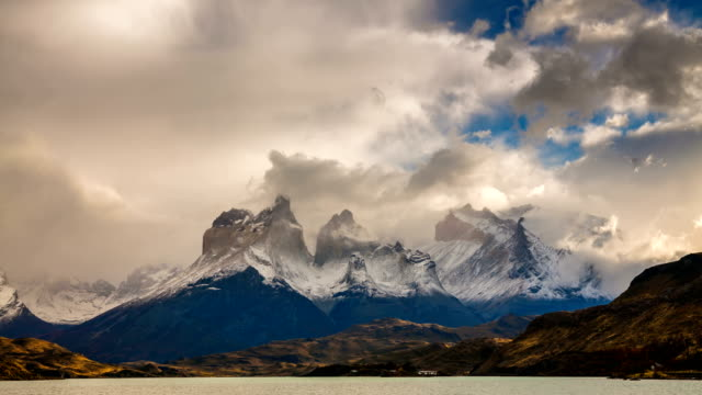 cloudy dawn in torres del paine, chile - patagonia chile stock videos and b-roll footage