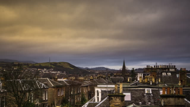 cloudy edinburgh morning - timelapse - edinburgh scotland stock videos & royalty-free footage