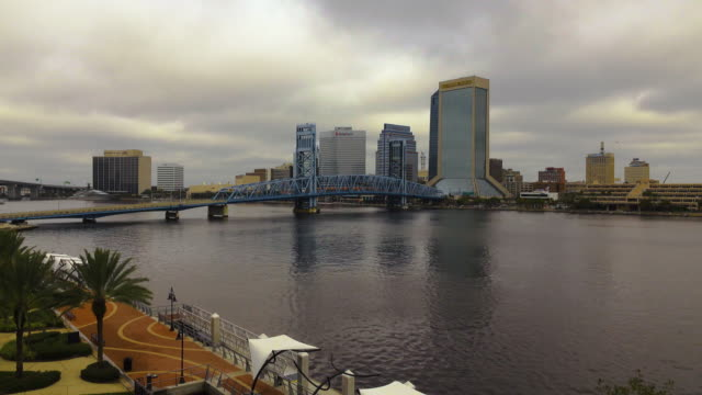 cloudy jacksonville skyline - jacksonville florida stock videos and b-roll footage