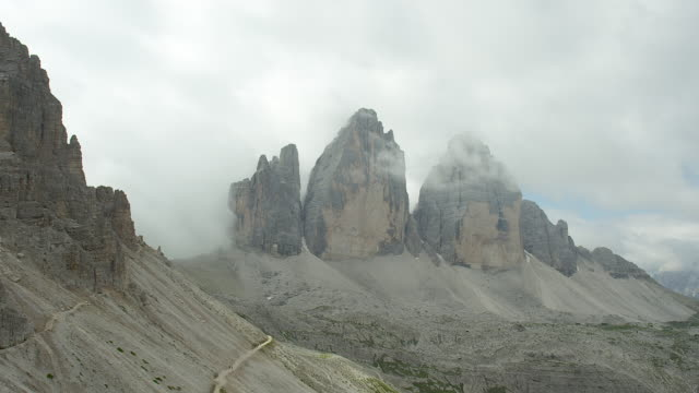 cloudy morning in the dolomites - tre cimo di lavaredo stock videos & royalty-free footage