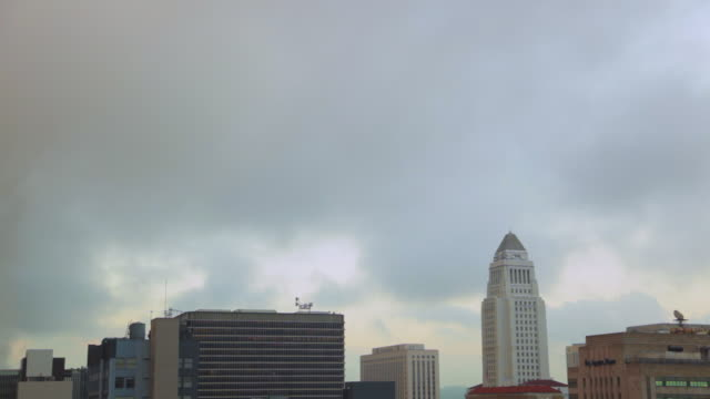 WS Cloudy morning over Los Angeles downtown with flock of birds flying / Los Angeles, California, United States