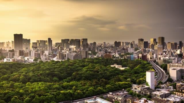 vidéos et rushes de parc tokyo nuageux matin over - time lapse - parc public