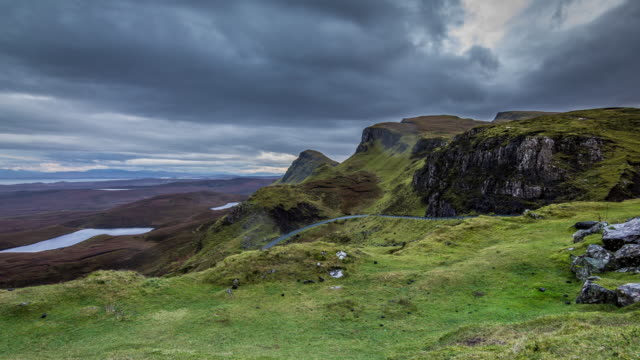 cloudy, rainy day at the quiraing hd - scotland stock videos & royalty-free footage