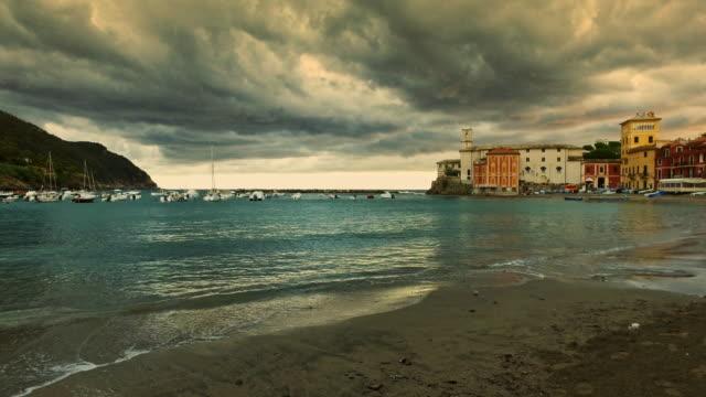 cloudy sky in a mediterranean village. - liguria stock videos & royalty-free footage