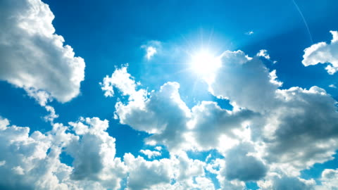 4k tl cloudy sky with sun rays. - sky only stock videos & royalty-free footage