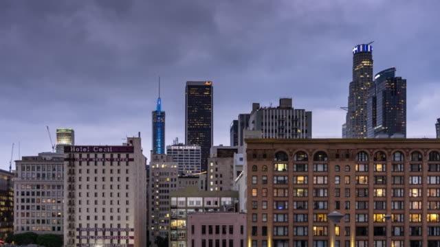 Cloudy Sunset in Downtown Los Angeles - Time Lapse