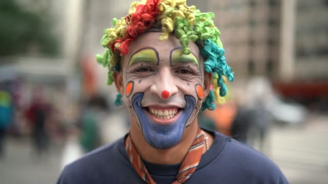 clown makes funny face - clown stock videos & royalty-free footage