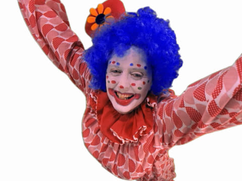 clown raising arms and laughing - londonalight stock videos and b-roll footage
