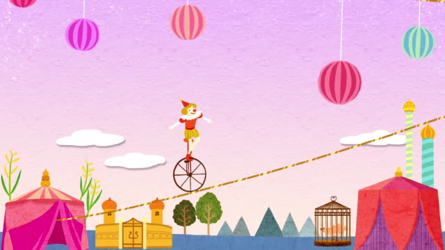 clown walking on a tightrope by unicycle - tightrope walking stock videos & royalty-free footage