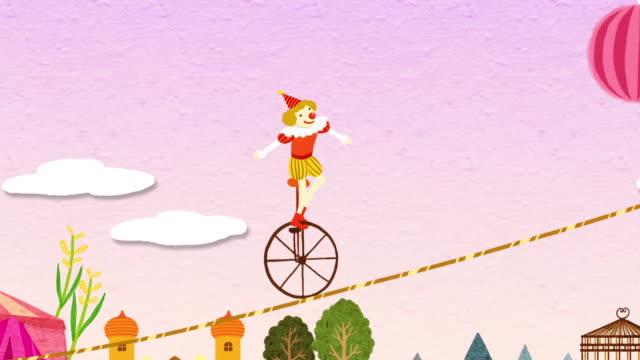vídeos de stock, filmes e b-roll de clown walking on a tightrope by unicycle - equilíbrio