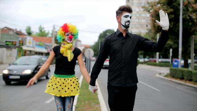 clowns walking outdoors - mime artist stock videos & royalty-free footage