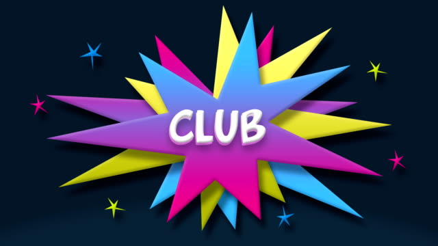 club text in speech balloon with colorful stars - speech bubble stock videos & royalty-free footage