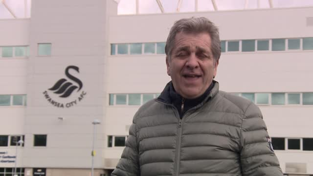 clubs to boycott social media over lack of action over racism; wales: swansea: ext reporter to camera sot - news not politics video stock e b–roll