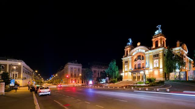 cluj napoca opera timelapse night romania - transylvania stock videos & royalty-free footage