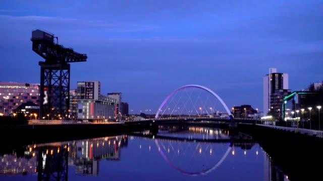 clyde arc bridge at dusk, glasgow, scotland - - glasgow scotland stock videos & royalty-free footage