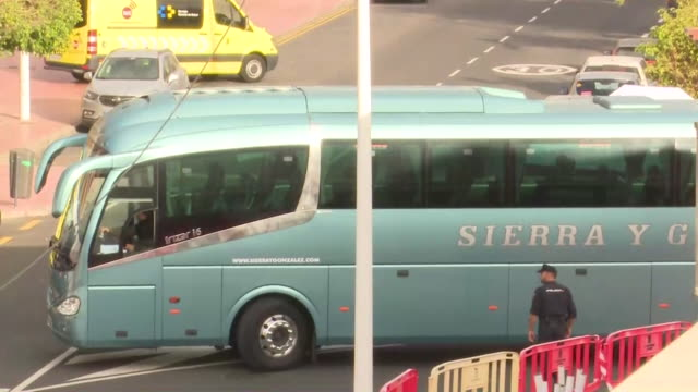 coach carrying british tourists leaving tenerife hotel where they have been quarantined due to the coronavirus - coach stock videos & royalty-free footage