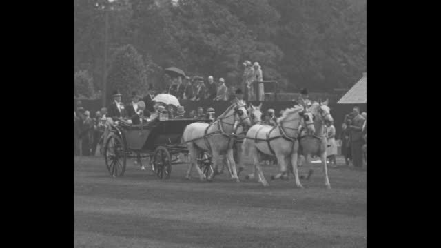 coach drawn by four white horses approaches on open field bearing george v queen mary and their sons edward the prince of wales and albert the duke... - prince stock videos and b-roll footage