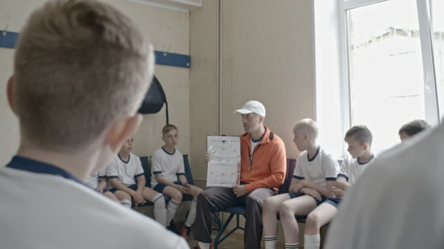 coach instructing young soccer team in locker room - locker room stock videos and b-roll footage