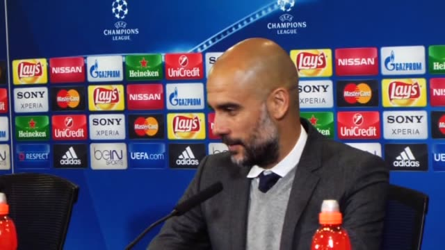 Coach of Bayern Munich Pep Guardiola and Coach of Atletico Madrid Diego Simeone answer to the media during the press conference following the UEFA...