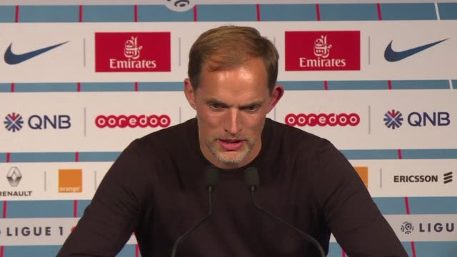 vídeos de stock, filmes e b-roll de coach thomas tuchel says he is very satisfied after kylian mbappe scored four goals in psg's crushing 50 win over lyon - olympique lyonnais