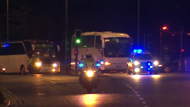 coaches arriving at arrowe park hospital on the wirral, carrying passengers who where quarantined onboard the diamond princess cruise ship in japan... - passenger stock videos & royalty-free footage