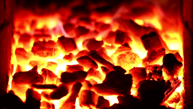 coal burning in the furnace firebox - anthracite coal stock videos & royalty-free footage