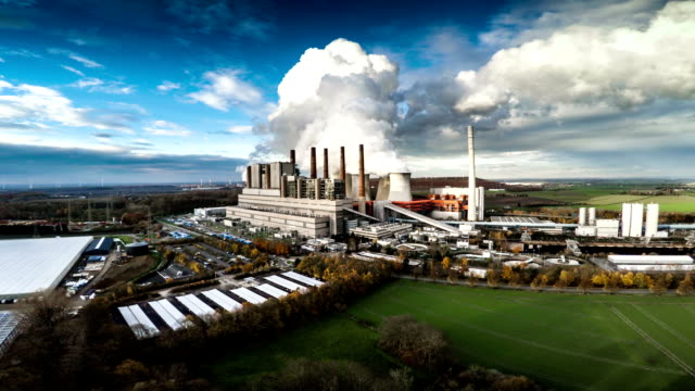 AERIAL : Coal burning power plant