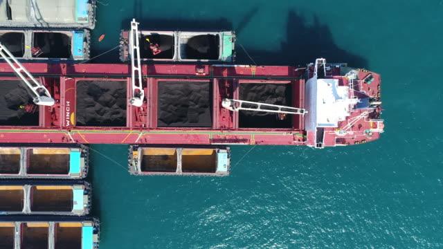 coal cargo ship working in the sea - secco video stock e b–roll