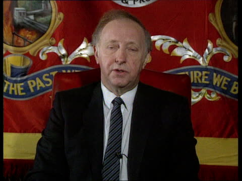all party report sheffield int cms arthur scargill intvwd sof report is offering the closure of 15 – 20 pits this is unacceptable / we'll continue... - sheffield stock videos and b-roll footage
