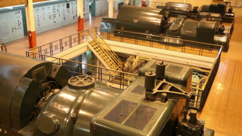 coal fired electricity power plant turbines running - turbine stock videos & royalty-free footage