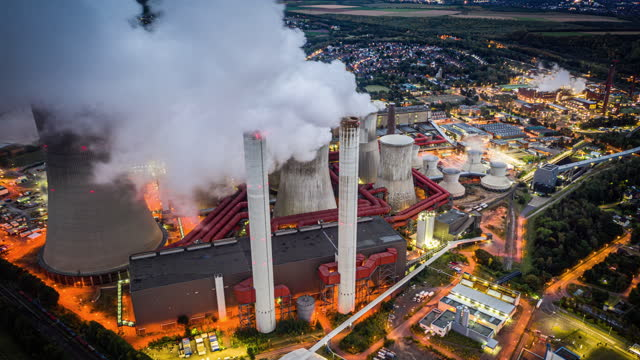 coal fired power station - aerial hyperlapse - coal stock videos & royalty-free footage