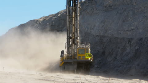 coal mine drilling rig drills into rock - mining stock videos & royalty-free footage