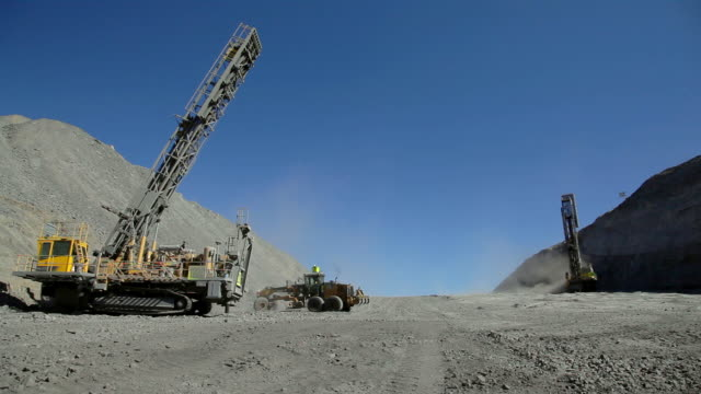 coal mine drilling rigs and bulldozer - coal mine stock videos & royalty-free footage