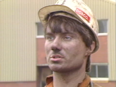 a coal miner at welbeck colliery explains why he is still working during the miners strike - miner stock videos and b-roll footage