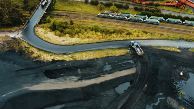 coal mineral exploitation. aerial shot. - dump truck stock videos & royalty-free footage