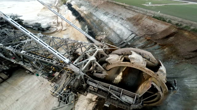 aerial : coal mining excavator - bucket stock videos and b-roll footage