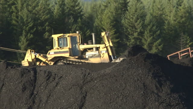 a coal mining front loader pushes coal near a forest in british columbia. - coal stock videos & royalty-free footage