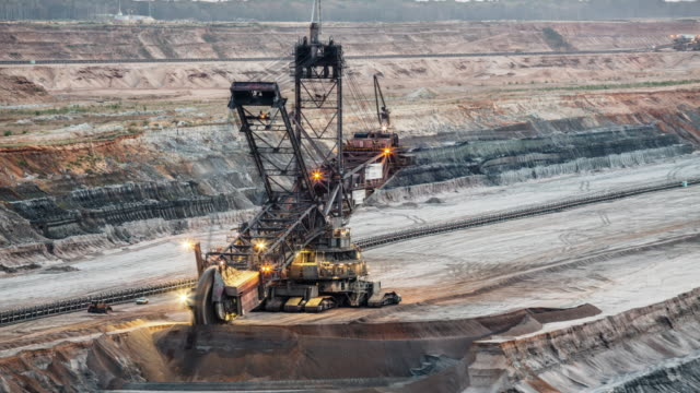 Coal Mining Machinery At Open-Pit Mine - Time Lapse