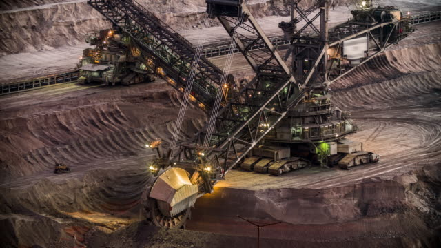 coal mining machinery at open-pit mine - open cast mine stock videos & royalty-free footage