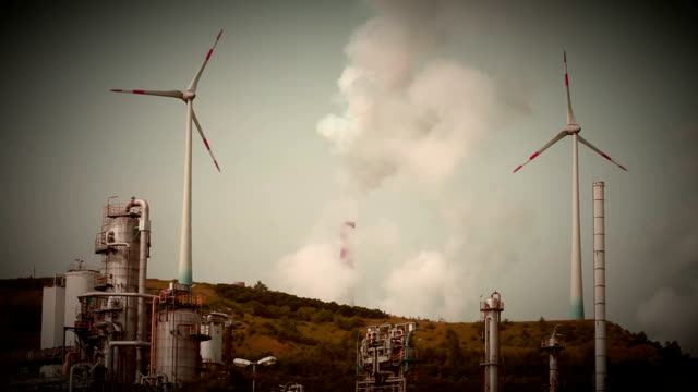 coal power plant and wind turbines - synthpop stock videos & royalty-free footage